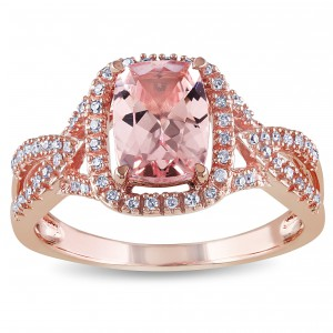 Signature Collection Rose Gold Cushion-Cut Morganite and 1/6ct TDW Diamond Crossover Engagement Ring - Handcrafted By Name My Rings™