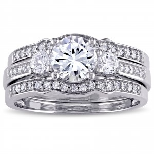 Signature Collection White Gold Created White Sapphire and 1/4ct TDW Diamond 3-Stone Bri - Handcrafted By Name My Rings™