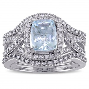 Signature Collection White Gold Cushion-cut Aquamarine and 1/3ct TDW Diamond Halo Bridal - Handcrafted By Name My Rings™