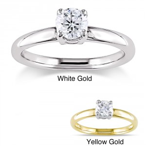 Signature Collection Gold 1/2ct TDW Certified Diamond Solitaire Engagement Ring - Handcrafted By Name My Rings™