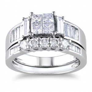 Signature Collection White Gold 1 1/2ct Princess CutTDW Diamond Bridal Ring Set - Handcrafted By Name My Rings™