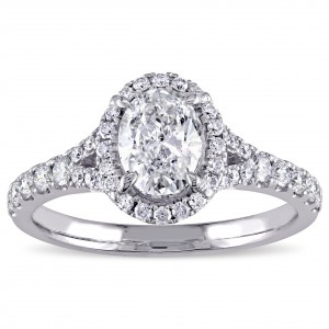 Signature Collection White Gold 1 1/2ct TDW Diamond Oval Halo Engagement Ring - Handcrafted By Name My Rings™
