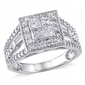 Signature Collection White Gold 1 1/2ct TDW Princess Diamond Ring - Handcrafted By Name My Rings™