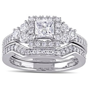 Signature Collection White Gold 1 1/4ct TDW Princess-cut Diamond Halo Bridal Ring Set - Handcrafted By Name My Rings™
