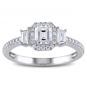 Signature Collection White Gold 1 1/5ct TDW Emerald Cut Diamond Ring - Handcrafted By Name My Rings™