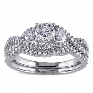 Signature Collection White Gold 1 1/8ct TDW Certified Diamond Bridal Ring Set - Handcrafted By Name My Rings™