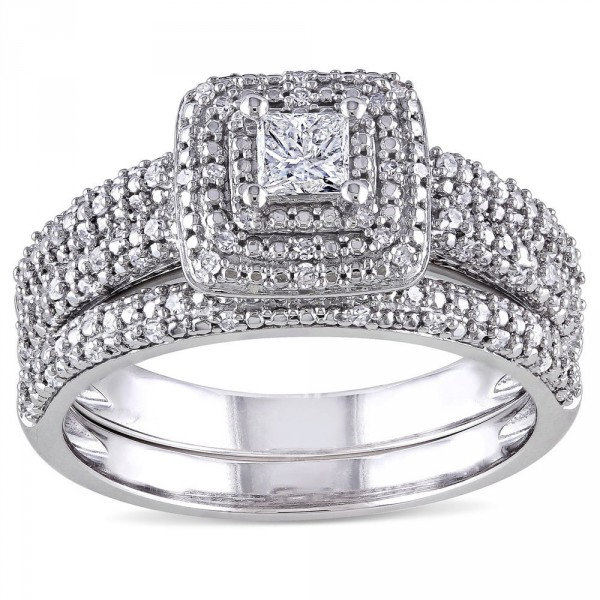 Signature Collection White Gold 1/2ct TDW Diamond Bridal Ring Set - Handcrafted By Name My Rings™