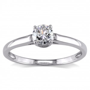 Signature Collection White Gold 1/2ct TDW Diamond Solitaire Engagement Ring - Handcrafted By Name My Rings™