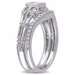 Signature Collection White Gold 1/2ct TDW Diamond Vintage Bridal Ring Set - Handcrafted By Name My Rings™
