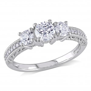 Signature Collection White Gold 1ct TDW Diamond 3-stone Vintage Engagement Ring - Handcrafted By Name My Rings™