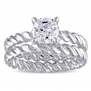 Signature Collection White Gold 1ct TDW Diamond Solitaire Bridal Ring Set - Handcrafted By Name My Rings™