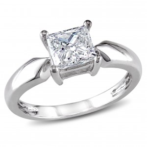 Signature Collection White Gold 1ct TDW Diamond Solitaire Engagement Ring - Handcrafted By Name My Rings™
