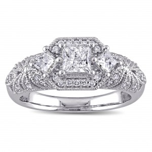 Signature Collection White Gold 1ct TDW Princess and Round Diamond Engagement Ring - Handcrafted By Name My Rings™
