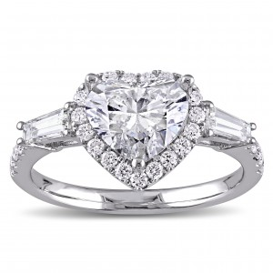 Signature Collection White Gold 2 1/4ct TDW Heart and Round-Cut Diamond Engagement Ring - Handcrafted By Name My Rings™