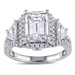 Signature Collection White Gold 3 3/4ct TDW Certified Emerald Diamond Ring - Handcrafted By Name My Rings™