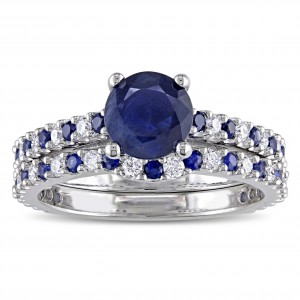 Signature Collection White Gold 3/8ct TDW Diamond and Sapphire Bridal Ring Set - Handcrafted By Name My Rings™