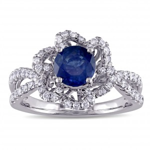 Signature Collection White Gold 3/8ct TDW Diamond and Sapphire Engagement Ring - Handcrafted By Name My Rings™