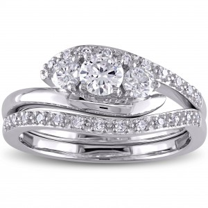 Signature Collection White Gold 5/8ct TDW Diamond 3-Stone Bridal Set - Handcrafted By Name My Rings™