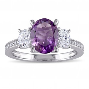 Signature Collection White Gold Amethyst and 5/8ct TDW Oval and Round Diamond Engagement Ring - Handcrafted By Name My Rings™