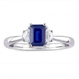 Signature Collection White Gold Blue and White Sapphire Three-Stone Engagement Ring - Handcrafted By Name My Rings™