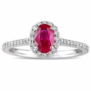 Signature Collection White Gold Oval-Cut Ruby and 1/4ct TDW Diamond Halo Engagement Ring - Handcrafted By Name My Rings™