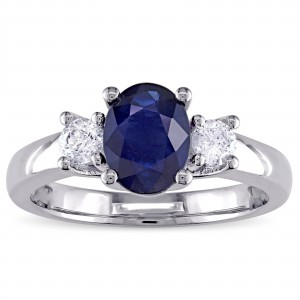 Signature Collection White Gold Oval-Shaped Blue Sapphire and 1/3ct TDW Diamond Engagement Ring - Handcrafted By Name My Rings™