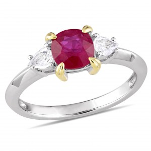 Signature Collection White Gold Gold Prong Ruby White Sapphire 3-Stone Engagement Ring - Handcrafted By Name My Rings™
