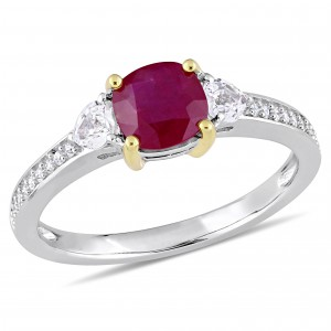 Signature Collection White Gold Gold Prong Ruby White Sapphire and 1/10ct TDW Diamond Engagement Ring - Handcrafted By Name My Rings™
