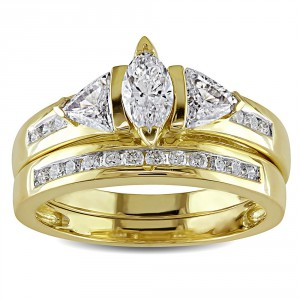 Signature Collection Gold 1ct TDW Certified Diamond Bridal Ring Set - Handcrafted By Name My Rings™