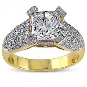 Signature Collection Gold 2 5/8ct TDW Princess Diamond Ring - Handcrafted By Name My Rings™