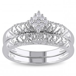 Sterling Silver 1/10ct TDW Diamond Cluster Engagement Bridal Ring Set - Handcrafted By Name My Rings™