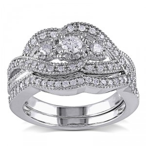 Sterling Silver 1/2ct TDW Diamond Split Shank Engagement Wedding Bridal Ring Set - Handcrafted By Name My Rings™