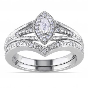 Sterling Silver 1/3ct TDW Diamond Bridal Ring Set - Handcrafted By Name My Rings™