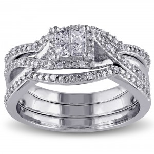 Sterling Silver 1/3ct TDW Princess and Round-cut Split Shank Diamond Bridal Ring Set - Handcrafted By Name My Rings™
