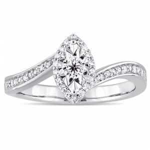 Sterling Silver 1/4ct TDW Diamond Bypass Style Engagement Ring - Handcrafted By Name My Rings™