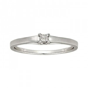 White Gold Diamond Accent Solitaire Princess Cut Promise Ring - Handcrafted By Name My Rings™