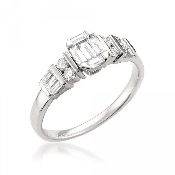 White Gold 1/2ct TDW Baguette Emerald Shape Diamond Ring - Handcrafted By Name My Rings™