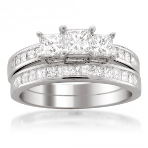White Gold 2ct TDW Princess-cut 3-Stone White Diamond 2-piece Bridal Set - Handcrafted By Name My Rings™