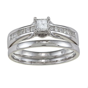 White Gold 5/8ct TDW Princess-cut Diamond Wedding Set - Handcrafted By Name My Rings™