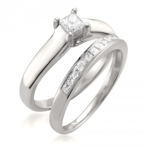 White Gold 5/8ct TDW Princess-cut White Diamond 2-piece Bridal Set - Handcrafted By Name My Rings™