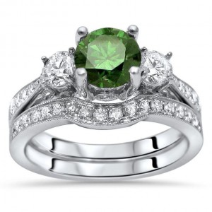 1 1/2ct Green Round Diamond 3 Stone Engagement Ring Bridal Set White Gold - Handcrafted By Name My Rings™