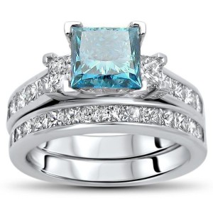 Gold 2 3/4ct TDW Blue Princess-cut Diamond Bridal Set - Handcrafted By Name My Rings™
