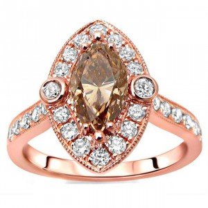 Rose Gold 1 1/2ct TDW Marquise Brown Diamond Engagement Ring - Handcrafted By Name My Rings™