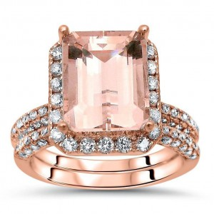 Rose Gold Morganite and 1 1/5ct TDW White Diamond Bridal Set - Handcrafted By Name My Rings™