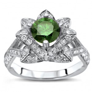 White Gold 1 1/2ct TDW Green Diamond Lotus Flower Engagement Ring - Handcrafted By Name My Rings™