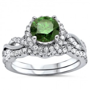 White Gold 1 1/4ct TDW Green Round Diamond Engagement Ring Bridal Set - Handcrafted By Name My Rings™