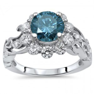 White Gold 1 3/5 ct TDW Blue Round Diamond Flower Floral Engagement Ring - Handcrafted By Name My Rings™
