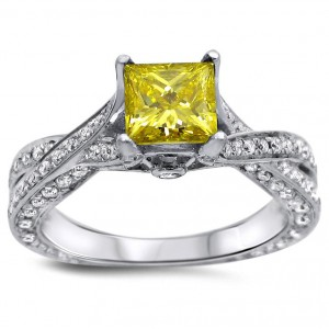 White Gold 1 3/5ct TDW Canary Yellow Princess Cut Diamond Engagement Ring - Handcrafted By Name My Rings™