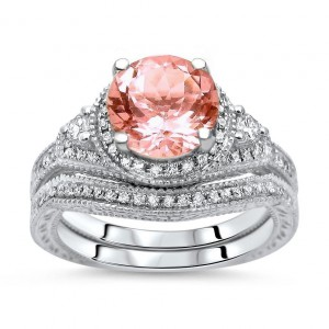 White Gold 1 3/5ct TGW Round-cut Morganite Diamond Engagement Ring Bridal Set - Handcrafted By Name My Rings™