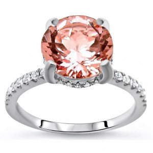 White Gold 1 9/10ct TGW Round-cut Morganite and Diamond Engagement Ring - Handcrafted By Name My Rings™
